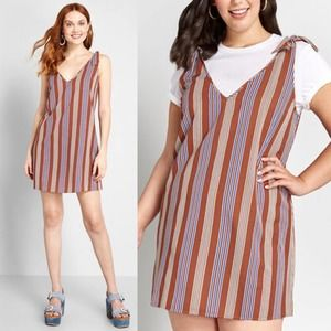 Modcloth Red My Kind of Casual Striped Shift Dress